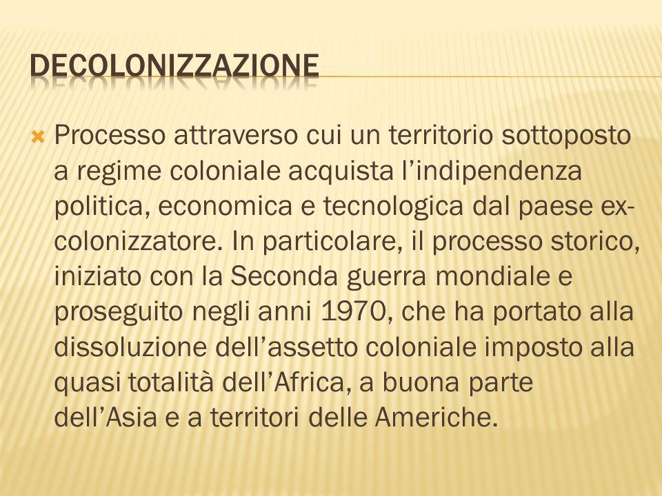 Processo attraverso cui un territorio sottoposto a regime coloniale acquista lindipendenza politica, economica e tecnologica dal paese ex- colonizzatore.