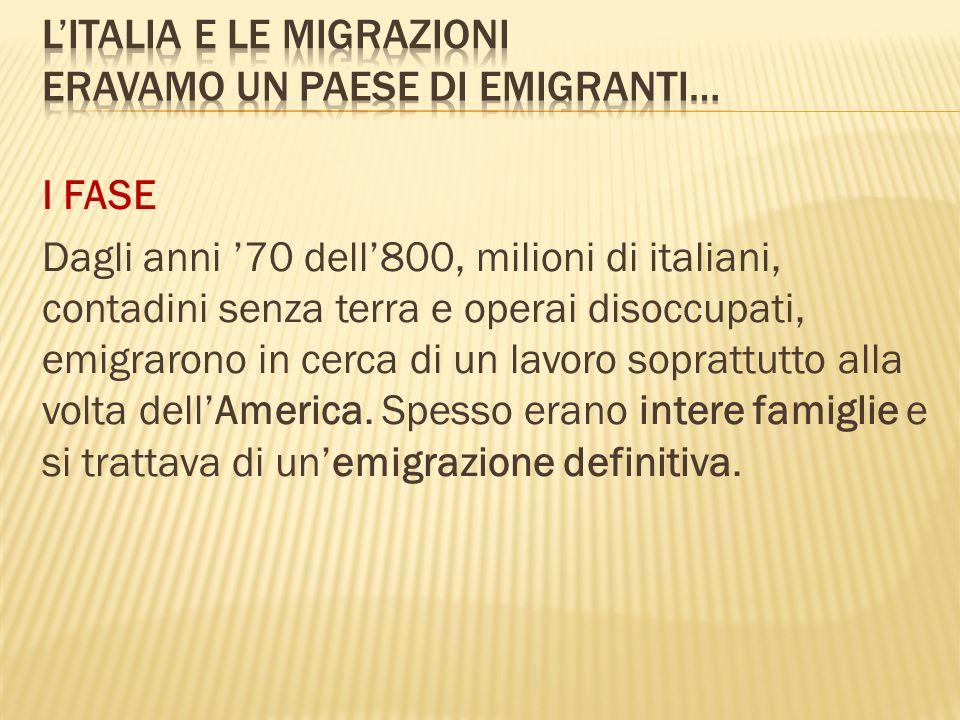 I FASE Dagli anni 70 dell800, milioni di italiani, contadini senza terra e operai disoccupati, emigrarono in cerca di un lavoro soprattutto alla volta dellAmerica.