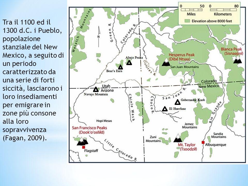 Tra il 1100 ed il 1300 d.C. i Pueblo, popolazione stanziale del New Mexico, a seguito di un periodo caratterizzato da una serie di forti siccità, lasc