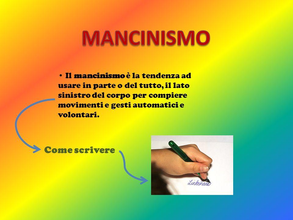 Il mancinismo è la tendenza ad usare in parte o del tutto, il lato sinistro del corpo per compiere movimenti e gesti automatici e volontari. Come scri