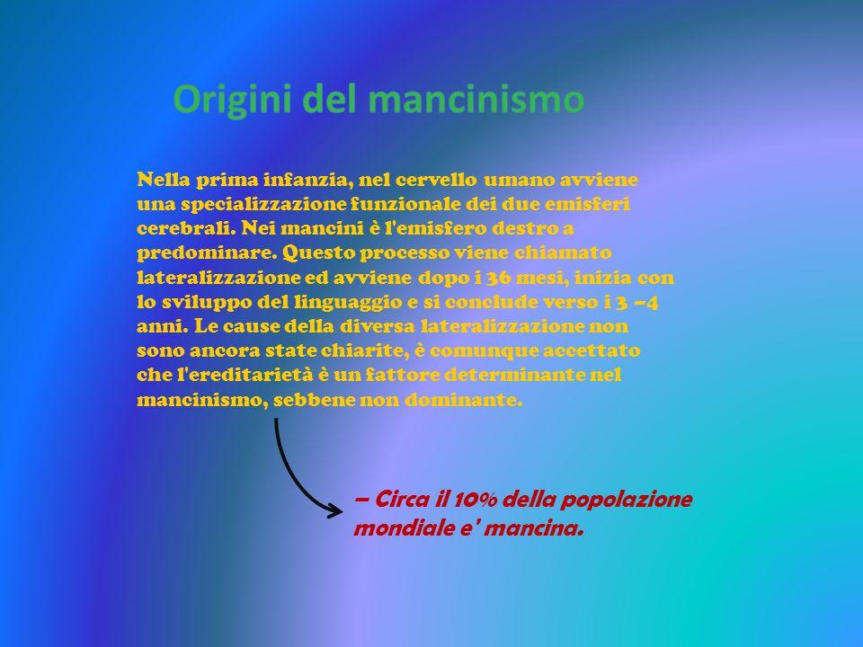 – Circa il 10% della popolazione mondiale e' mancina. Nella prima infanzia, nel cervello umano avviene una specializzazione funzionale dei due emisfer