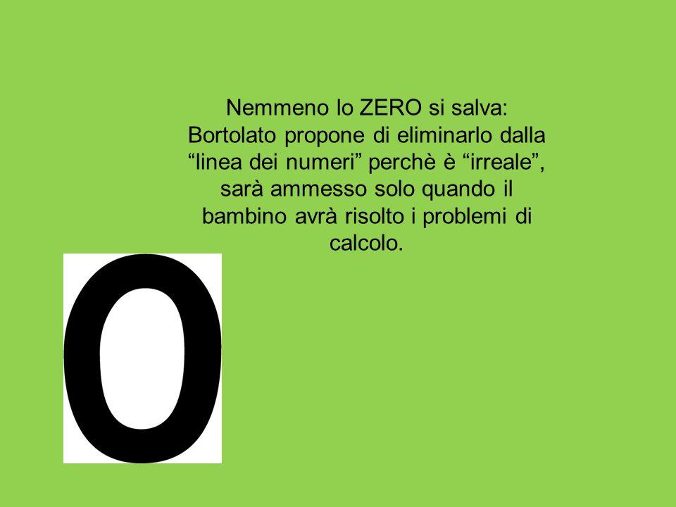 Nemmeno lo ZERO si salva: Bortolato propone di eliminarlo dalla linea dei numeri perchè è irreale, sarà ammesso solo quando il bambino avrà risolto i