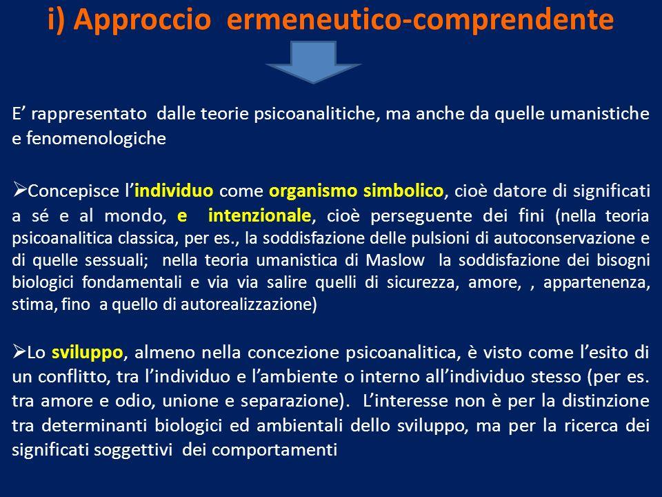 i) Approccio ermeneutico-comprendente E rappresentato dalle teorie psicoanalitiche, ma anche da quelle umanistiche e fenomenologiche Concepisce lindiv