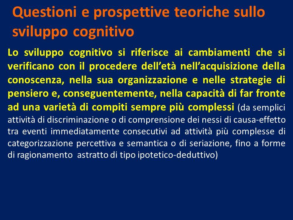 Questioni e prospettive teoriche sullo sviluppo cognitivo Lo sviluppo cognitivo si riferisce ai cambiamenti che si verificano con il procedere delletà