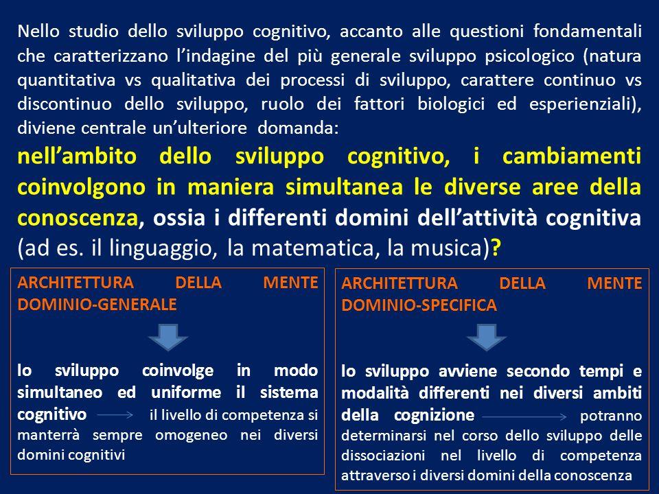 Nello studio dello sviluppo cognitivo, accanto alle questioni fondamentali che caratterizzano lindagine del più generale sviluppo psicologico (natura