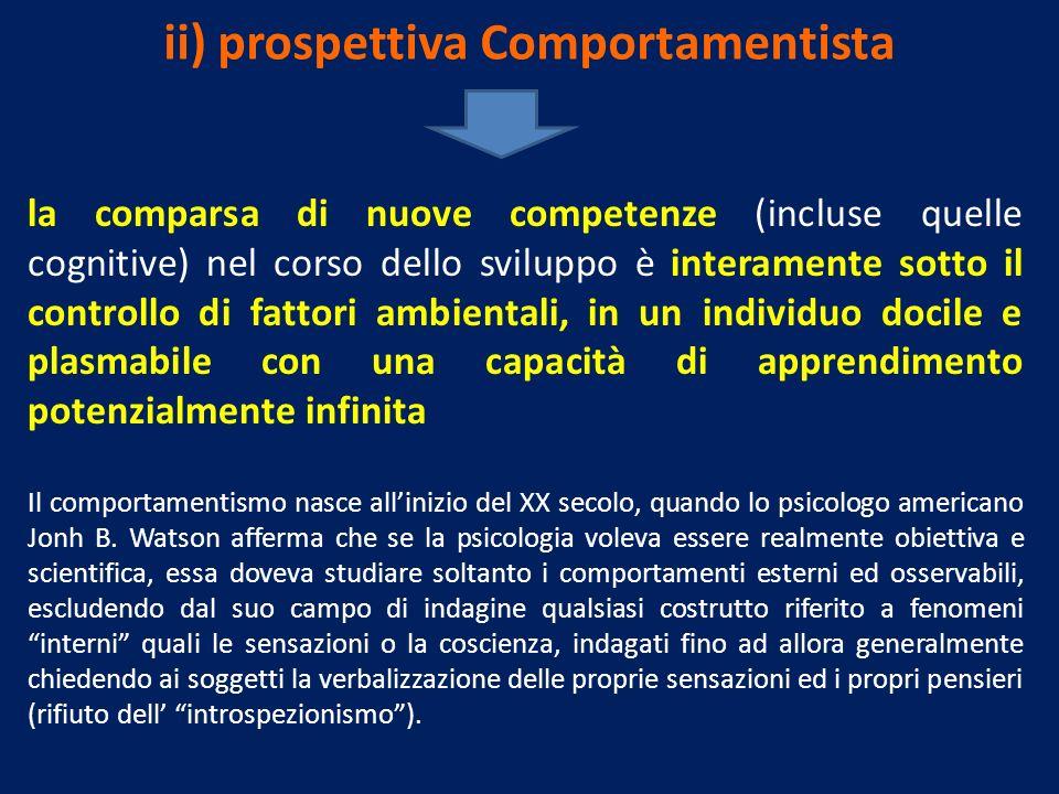 ii) prospettiva Comportamentista la comparsa di nuove competenze (incluse quelle cognitive) nel corso dello sviluppo è interamente sotto il controllo