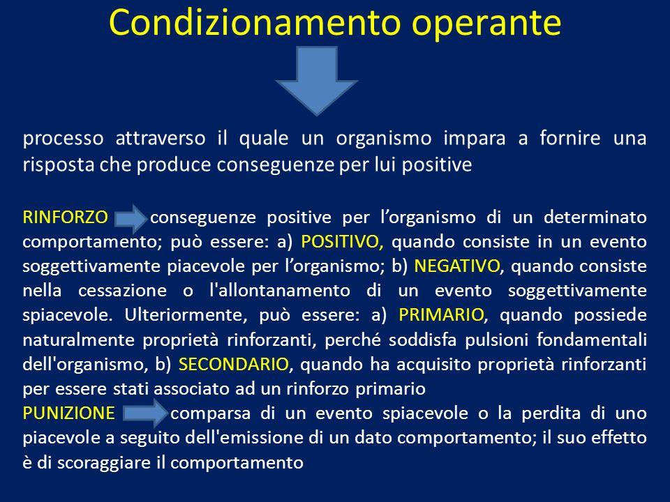 Condizionamento operante processo attraverso il quale un organismo impara a fornire una risposta che produce conseguenze per lui positive RINFORZO con