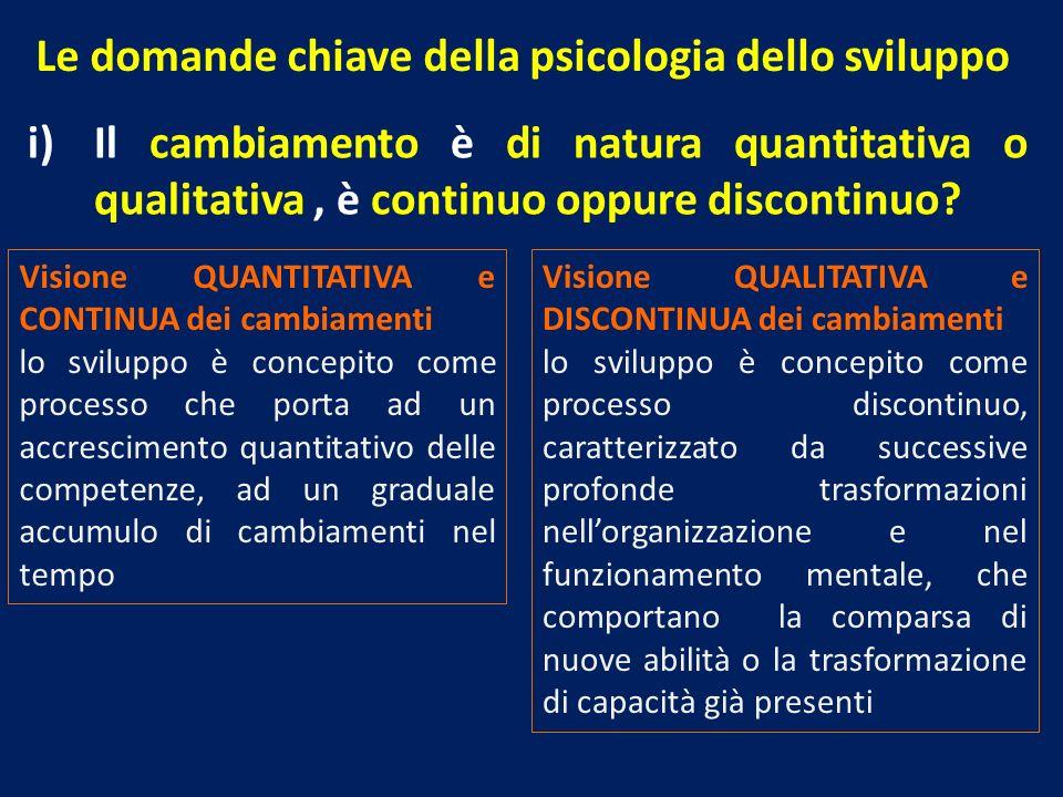 Le domande chiave della psicologia dello sviluppo i)Il cambiamento è di natura quantitativa o qualitativa, è continuo oppure discontinuo? Visione QUAN