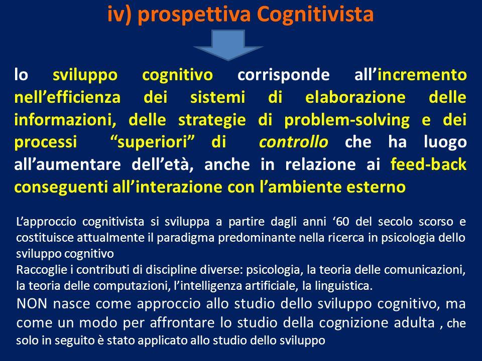 iv) prospettiva Cognitivista lo sviluppo cognitivo corrisponde allincremento nellefficienza dei sistemi di elaborazione delle informazioni, delle stra