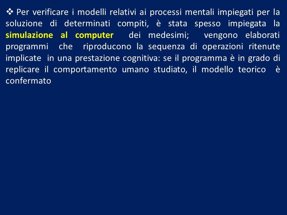 Per verificare i modelli relativi ai processi mentali impiegati per la soluzione di determinati compiti, è stata spesso impiegata la simulazione al co
