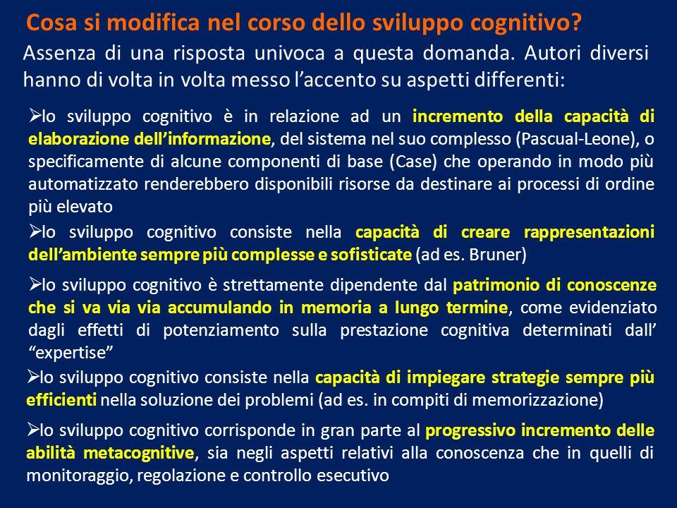 Cosa si modifica nel corso dello sviluppo cognitivo? Assenza di una risposta univoca a questa domanda. Autori diversi hanno di volta in volta messo la