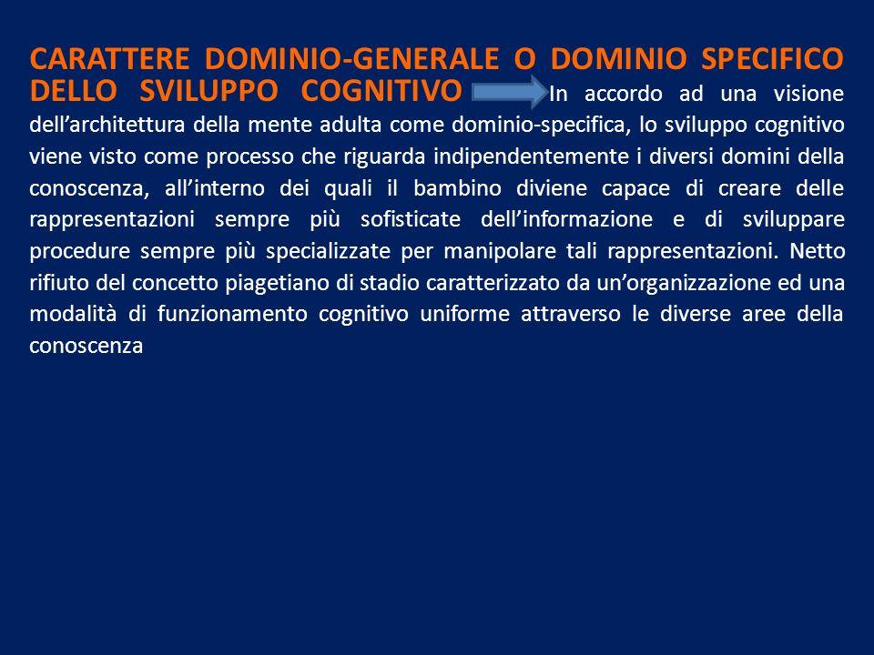 CARATTERE DOMINIO-GENERALE O DOMINIO SPECIFICO DELLO SVILUPPO COGNITIVO In accordo ad una visione dellarchitettura della mente adulta come dominio-spe