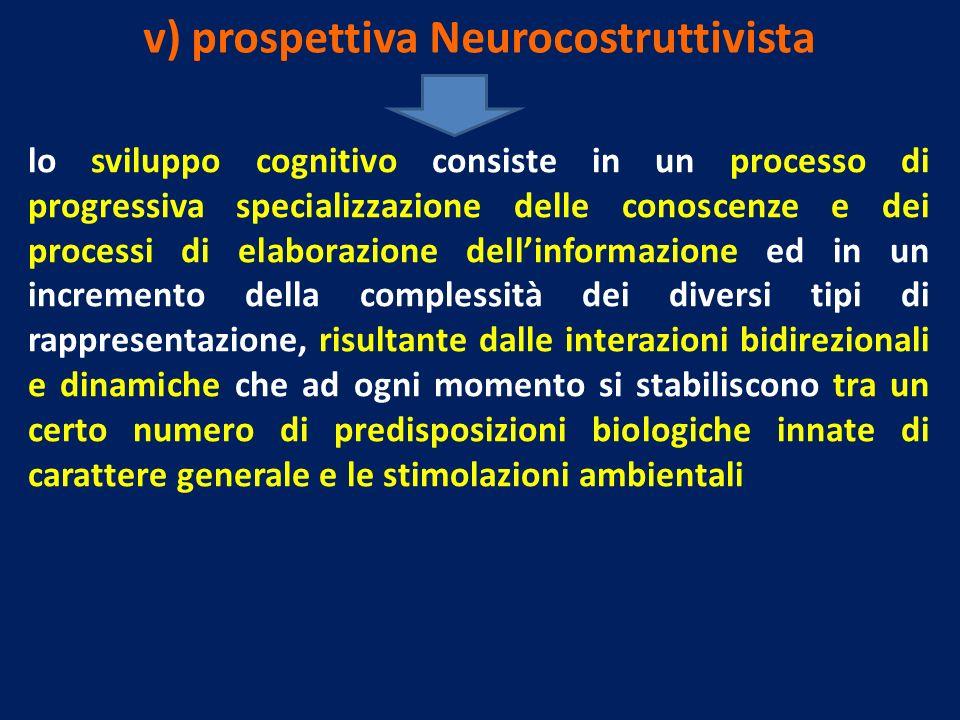 v) prospettiva Neurocostruttivista lo sviluppo cognitivo consiste in un processo di progressiva specializzazione delle conoscenze e dei processi di el