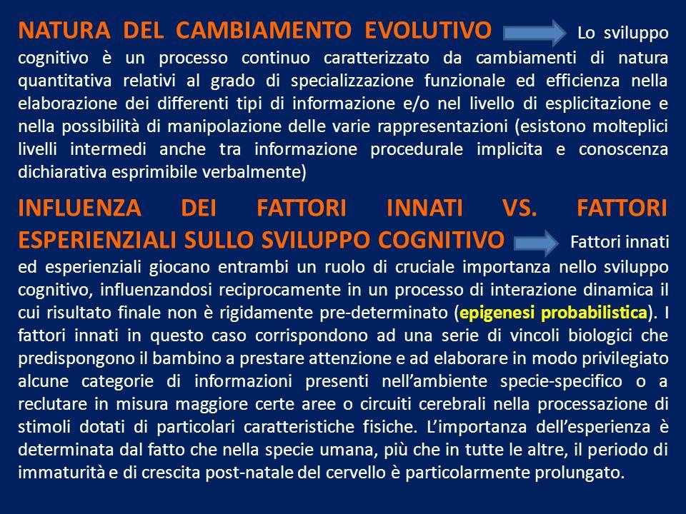 NATURA DEL CAMBIAMENTO EVOLUTIVO Lo sviluppo cognitivo è un processo continuo caratterizzato da cambiamenti di natura quantitativa relativi al grado d