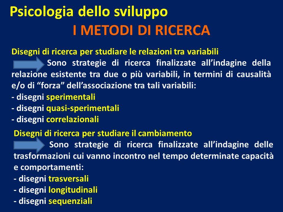 Psicologia dello sviluppo I METODI DI RICERCA Disegni di ricerca per studiare le relazioni tra variabili Sono strategie di ricerca finalizzate allinda