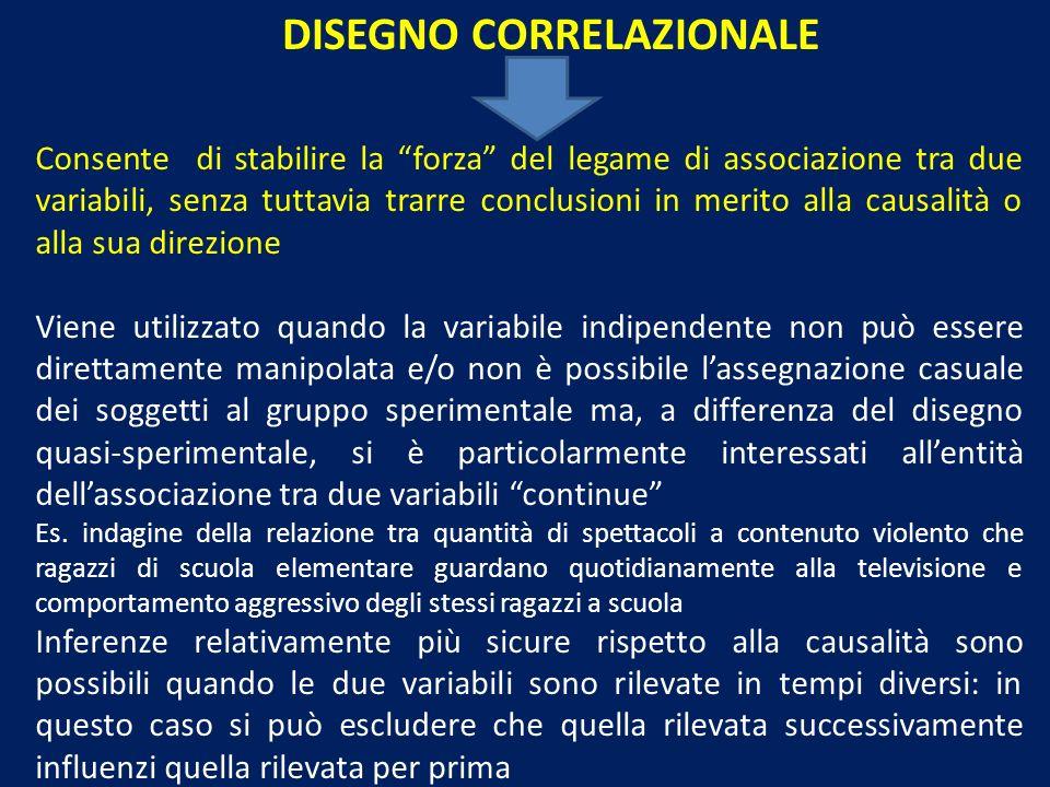 DISEGNO CORRELAZIONALE Consente di stabilire la forza del legame di associazione tra due variabili, senza tuttavia trarre conclusioni in merito alla c