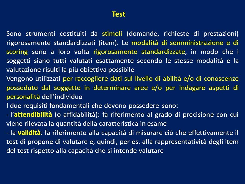 Sono strumenti costituiti da stimoli (domande, richieste di prestazioni) rigorosamente standardizzati (item). Le modalità di somministrazione e di sco