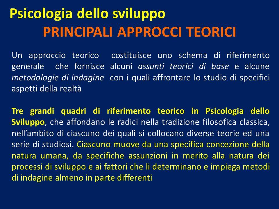 Psicologia dello sviluppo PRINCIPALI APPROCCI TEORICI Un approccio teorico costituisce uno schema di riferimento generale che fornisce alcuni assunti