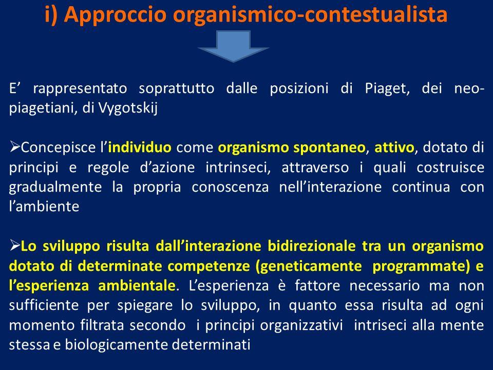 i) Approccio organismico-contestualista E rappresentato soprattutto dalle posizioni di Piaget, dei neo- piagetiani, di Vygotskij Concepisce lindividuo