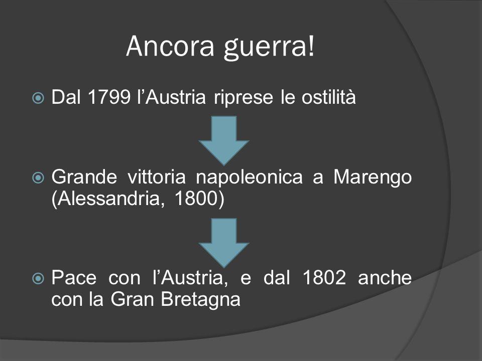 Ancora guerra! Dal 1799 lAustria riprese le ostilità Grande vittoria napoleonica a Marengo (Alessandria, 1800) Pace con lAustria, e dal 1802 anche con