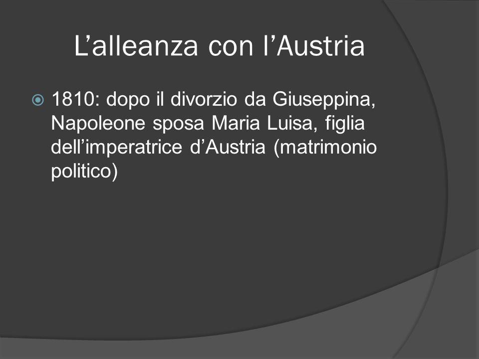Lalleanza con lAustria 1810: dopo il divorzio da Giuseppina, Napoleone sposa Maria Luisa, figlia dellimperatrice dAustria (matrimonio politico)
