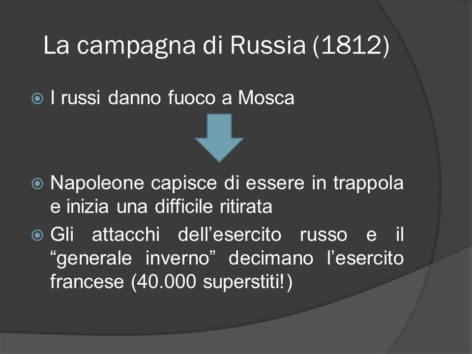 La campagna di Russia (1812) I russi danno fuoco a Mosca Napoleone capisce di essere in trappola e inizia una difficile ritirata Gli attacchi delleser
