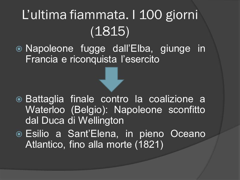 Lultima fiammata. I 100 giorni (1815) Napoleone fugge dallElba, giunge in Francia e riconquista lesercito Battaglia finale contro la coalizione a Wate