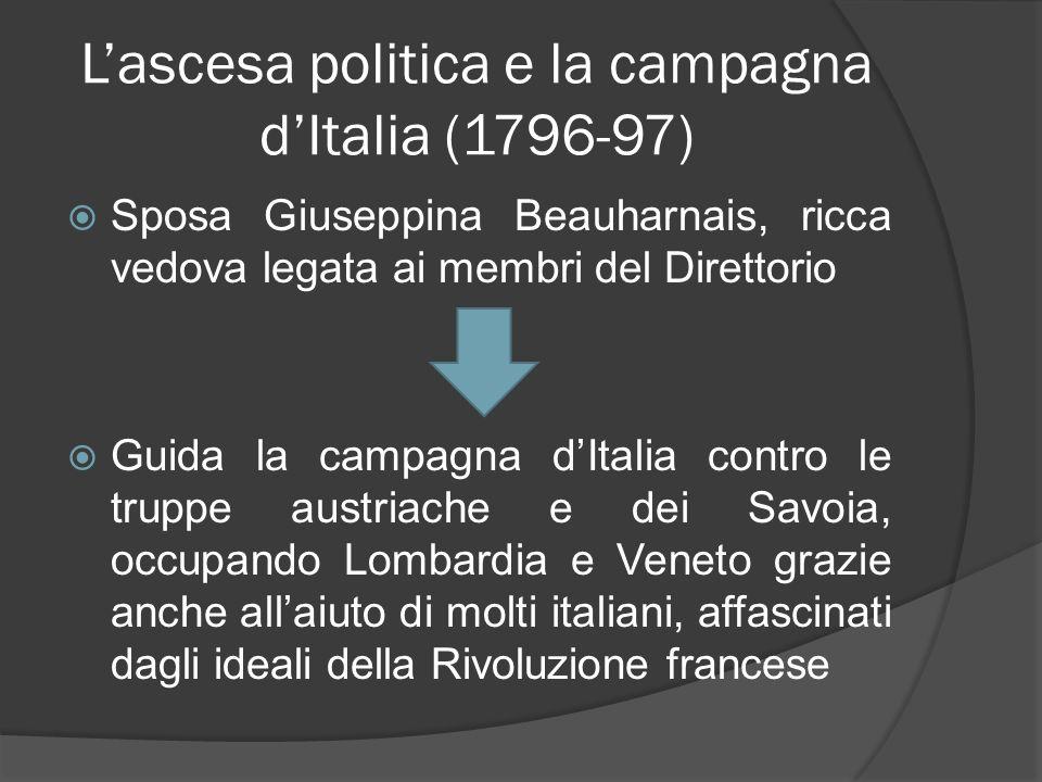 Lascesa politica e la campagna dItalia (1796-97) Sposa Giuseppina Beauharnais, ricca vedova legata ai membri del Direttorio Guida la campagna dItalia