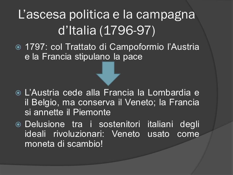 Lascesa politica e la campagna dItalia (1796-97) 1797: col Trattato di Campoformio lAustria e la Francia stipulano la pace LAustria cede alla Francia