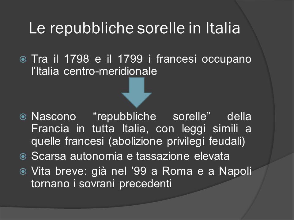 Le repubbliche sorelle in Italia Tra il 1798 e il 1799 i francesi occupano lItalia centro-meridionale Nascono repubbliche sorelle della Francia in tut