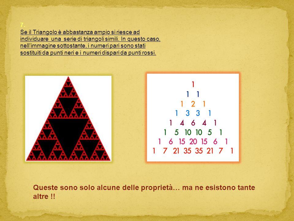 7. Se il Triangolo è abbastanza ampio si riesce ad individuare una serie di triangoli simili. In questo caso, nellimmagine sottostante, i numeri pari