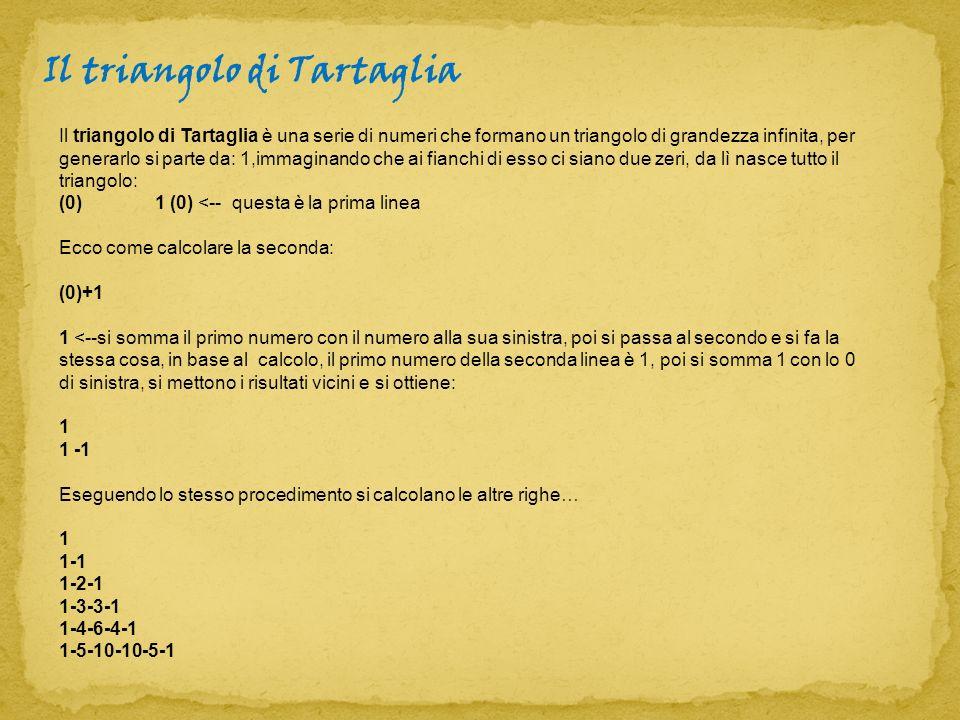 Il triangolo di Tartaglia è una serie di numeri che formano un triangolo di grandezza infinita, per generarlo si parte da: 1,immaginando che ai fianch
