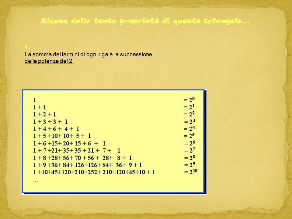 1. La somma dei termini di ogni riga è la successione delle potenze del 2. Alcune delle tante proprietà di questo triangolo…