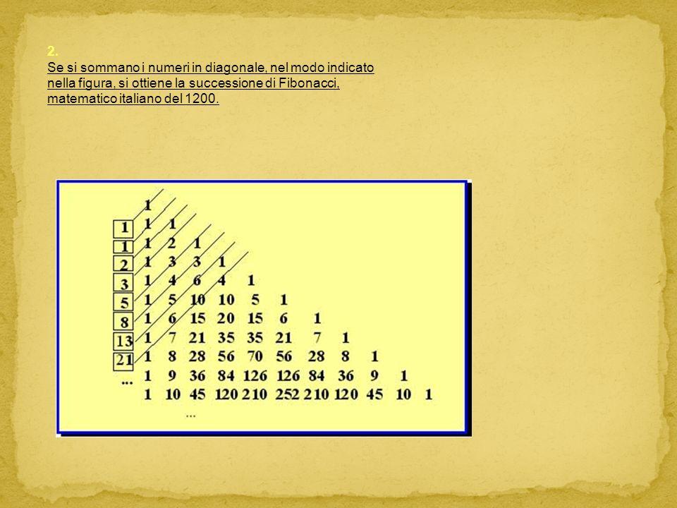 2. Se si sommano i numeri in diagonale, nel modo indicato nella figura, si ottiene la successione di Fibonacci, matematico italiano del 1200.