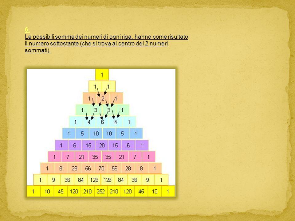 6. Le possibili somme dei numeri di ogni riga, hanno come risultato il numero sottostante (che si trova al centro dei 2 numeri sommati).