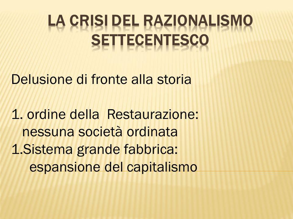 Delusione di fronte alla storia 1. ordine della Restaurazione: nessuna società ordinata 1.Sistema grande fabbrica: espansione del capitalismo