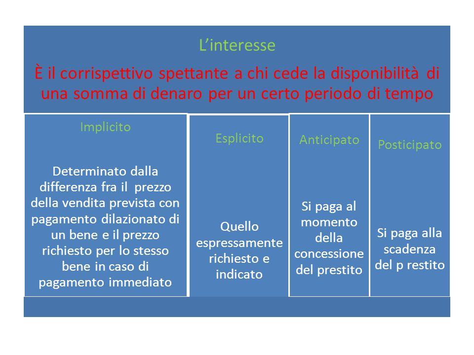 I regimi di capitalizzazione Interesse semplice Viene calcolato sempre sul capitale iniziale, indipendentemente dalla durata dellimpiego.