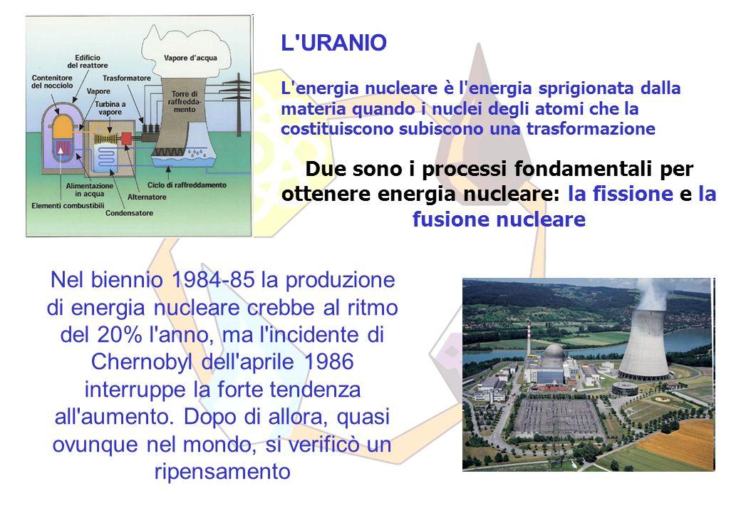 L URANIO L energia nucleare è l energia sprigionata dalla materia quando i nuclei degli atomi che la costituiscono subiscono una trasformazione Due sono i processi fondamentali per ottenere energia nucleare: la fissione e la fusione nucleare Nel biennio 1984-85 la produzione di energia nucleare crebbe al ritmo del 20% l anno, ma l incidente di Chernobyl dell aprile 1986 interruppe la forte tendenza all aumento.