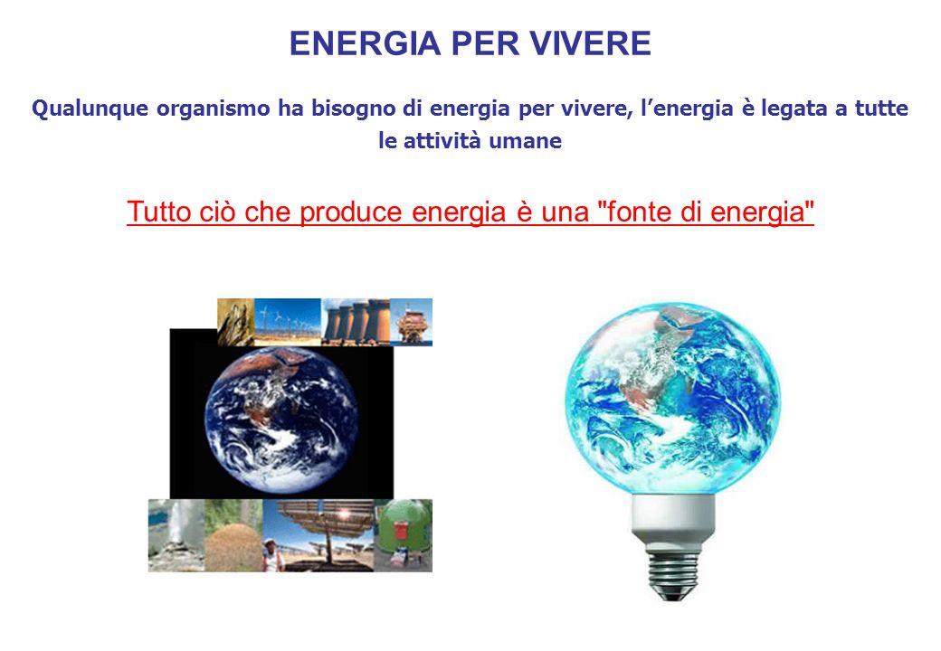 ENERGIA PER VIVERE Qualunque organismo ha bisogno di energia per vivere, lenergia è legata a tutte le attività umane Tutto ciò che produce energia è una fonte di energia
