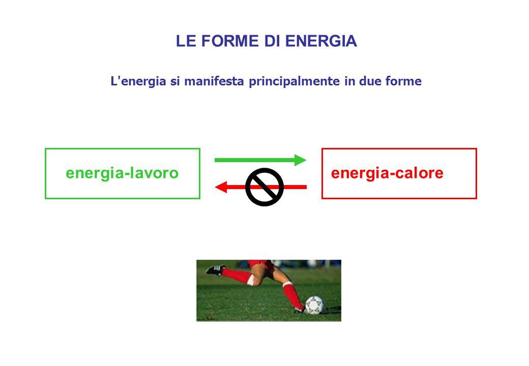 LE FORME DI ENERGIA L energia si manifesta principalmente in due forme energia-lavoroenergia-calore