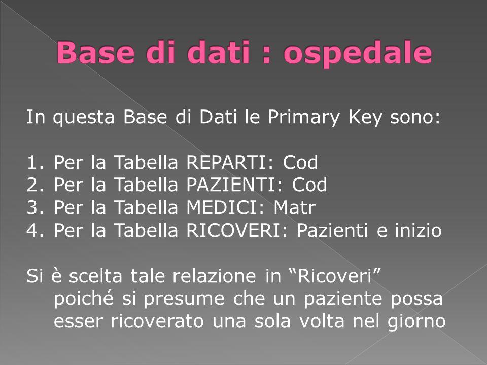 In questa Base di Dati le Primary Key sono: 1.Per la Tabella REPARTI: Cod 2.Per la Tabella PAZIENTI: Cod 3.Per la Tabella MEDICI: Matr 4.Per la Tabell