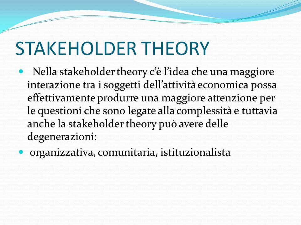 STAKEHOLDER THEORY Nella stakeholder theory cè lidea che una maggiore interazione tra i soggetti dellattività economica possa effettivamente produrre una maggiore attenzione per le questioni che sono legate alla complessità e tuttavia anche la stakeholder theory può avere delle degenerazioni: organizzativa, comunitaria, istituzionalista
