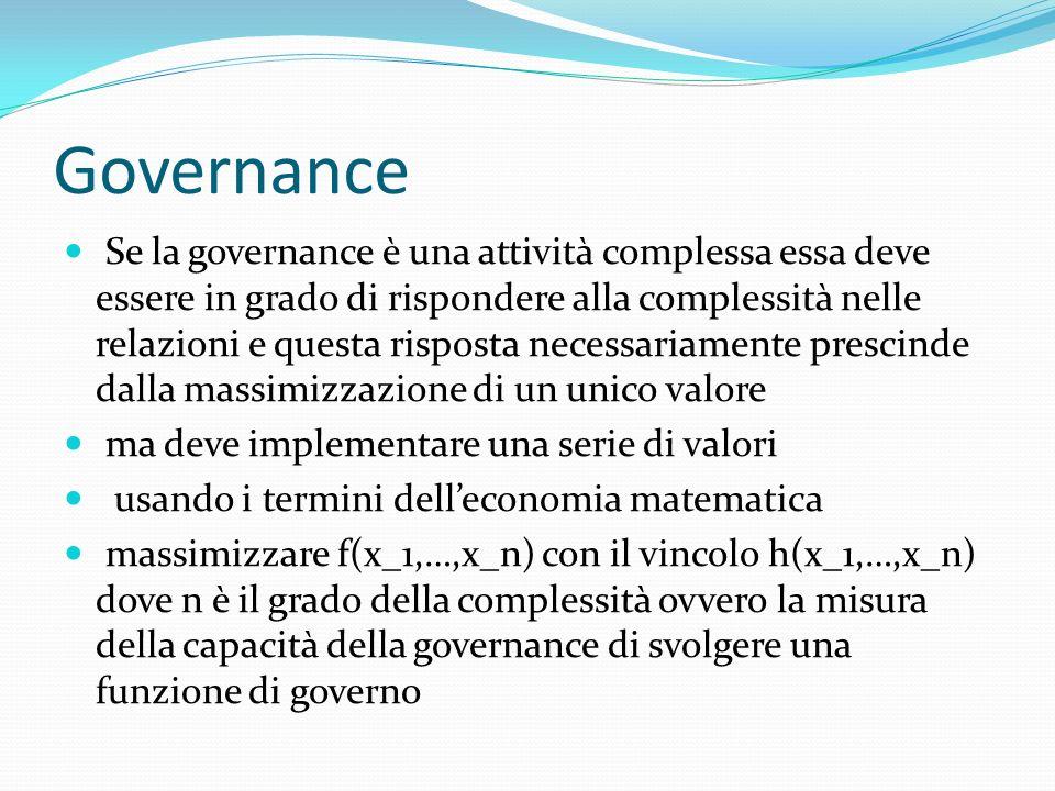 Governance Se la governance è una attività complessa essa deve essere in grado di rispondere alla complessità nelle relazioni e questa risposta necessariamente prescinde dalla massimizzazione di un unico valore ma deve implementare una serie di valori usando i termini delleconomia matematica massimizzare f(x_1,…,x_n) con il vincolo h(x_1,…,x_n) dove n è il grado della complessità ovvero la misura della capacità della governance di svolgere una funzione di governo