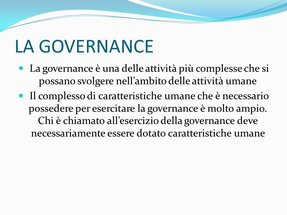 LA GOVERNANCE La scienza economica, nelle sua manifestazione manageriale, ha studiato, classificato il fenomeno dei modelli di governance dividendoli in base ai valori che sono massimizzati.