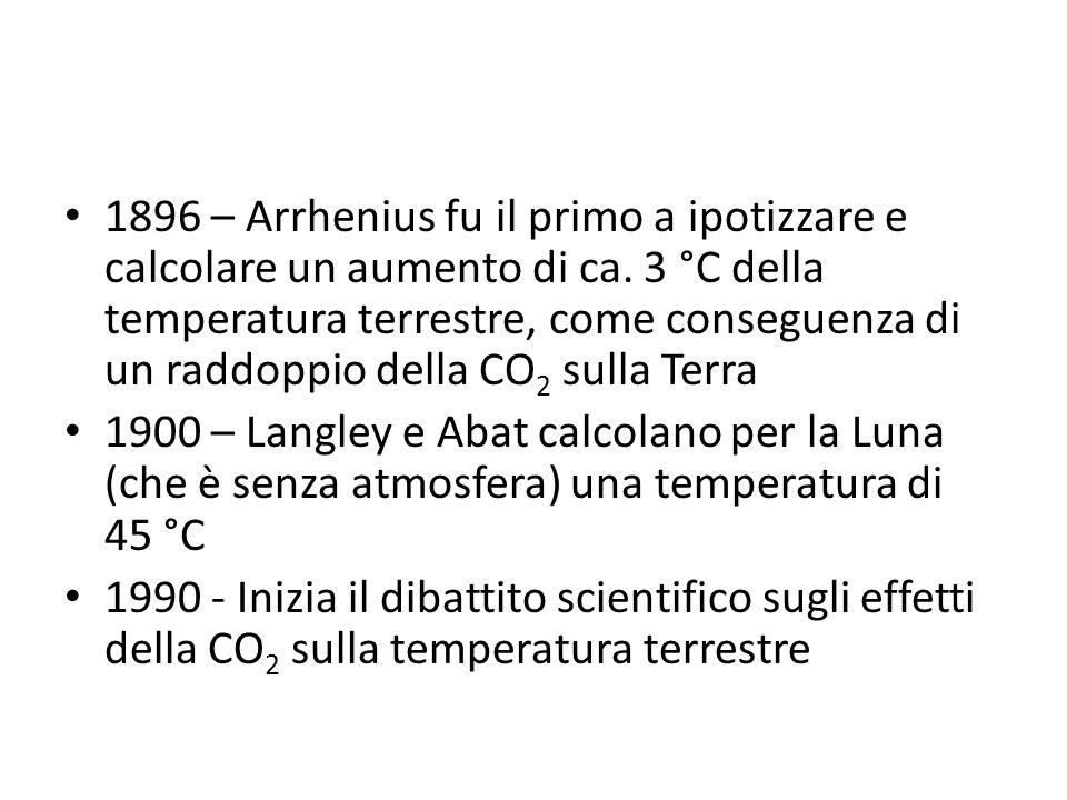 1896 – Arrhenius fu il primo a ipotizzare e calcolare un aumento di ca. 3 °C della temperatura terrestre, come conseguenza di un raddoppio della CO 2