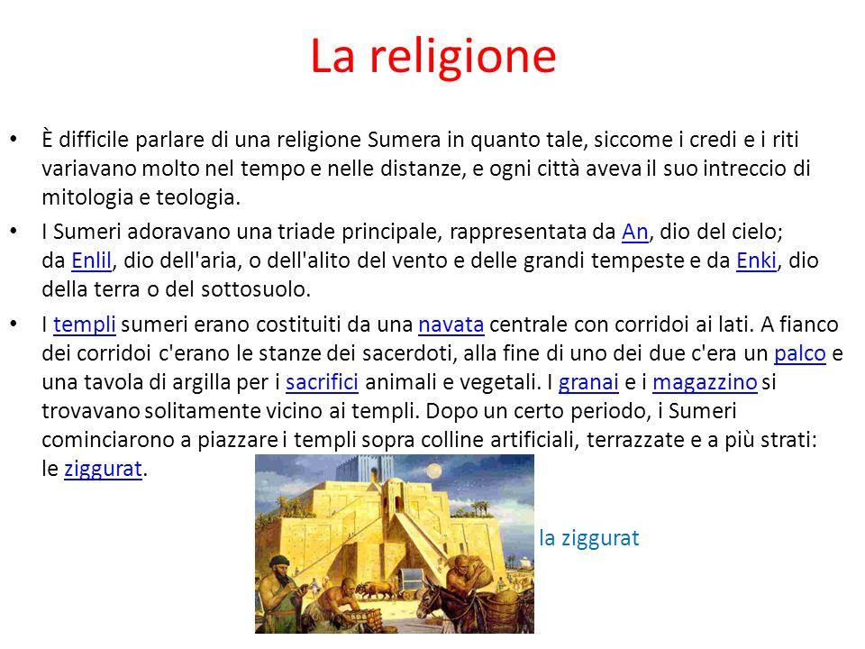 La religione È difficile parlare di una religione Sumera in quanto tale, siccome i credi e i riti variavano molto nel tempo e nelle distanze, e ogni c