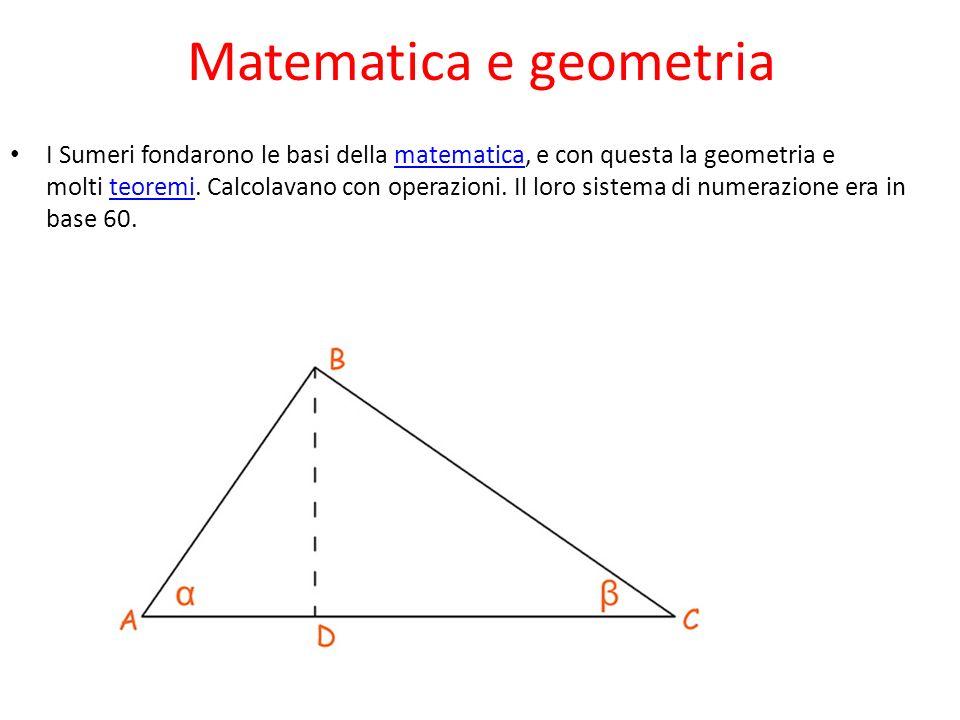 Matematica e geometria I Sumeri fondarono le basi della matematica, e con questa la geometria e molti teoremi. Calcolavano con operazioni. Il loro sis