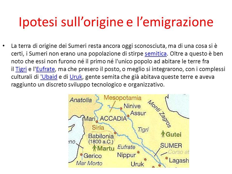 Ipotesi sullorigine e lemigrazione La terra di origine dei Sumeri resta ancora oggi sconosciuta, ma di una cosa si è certi, i Sumeri non erano una popolazione di stirpe semitica.