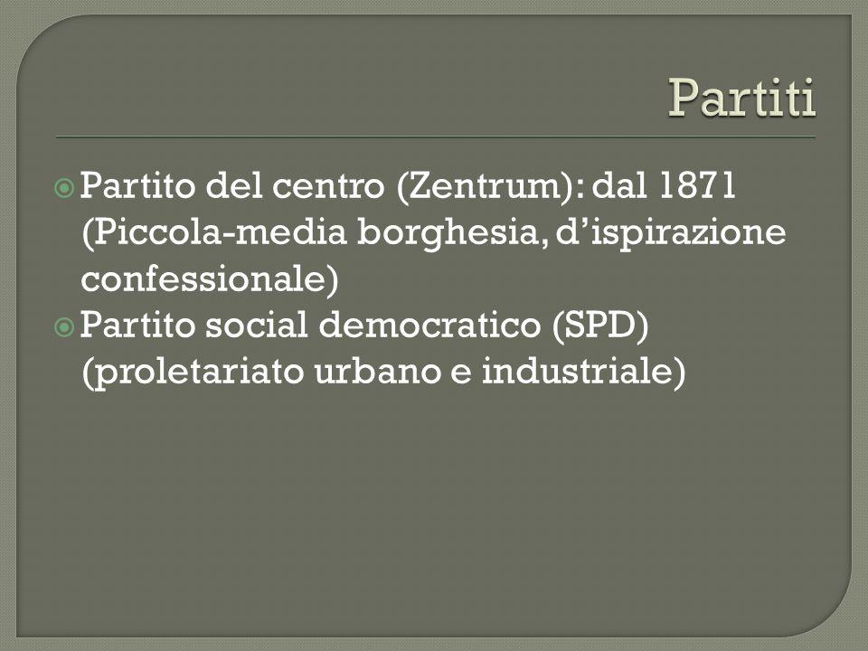 Partito del centro (Zentrum): dal 1871 (Piccola-media borghesia, dispirazione confessionale) Partito social democratico (SPD) (proletariato urbano e i