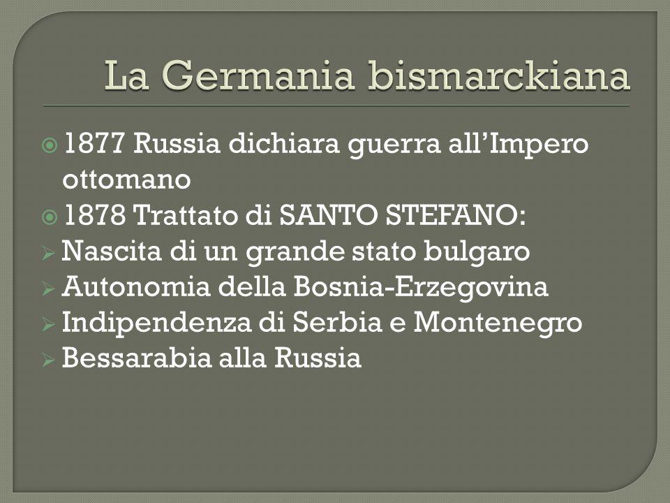 1877 Russia dichiara guerra allImpero ottomano 1878 Trattato di SANTO STEFANO: Nascita di un grande stato bulgaro Autonomia della Bosnia-Erzegovina In